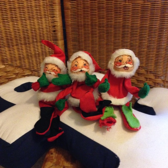 Vintage Annalee Santa Claus doll lot set of 3